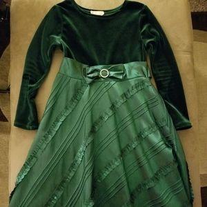Dollie&Me Girls Sz-8 Green Holiday Formal Dress